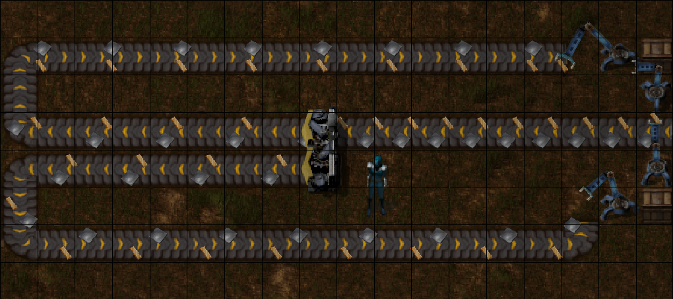 A splitter with a balanced feed of 2 item types.