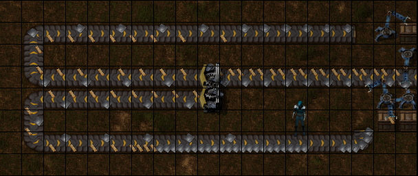 A splitter with a balanced feed of 2 item types in a ratio of 2 to 1.