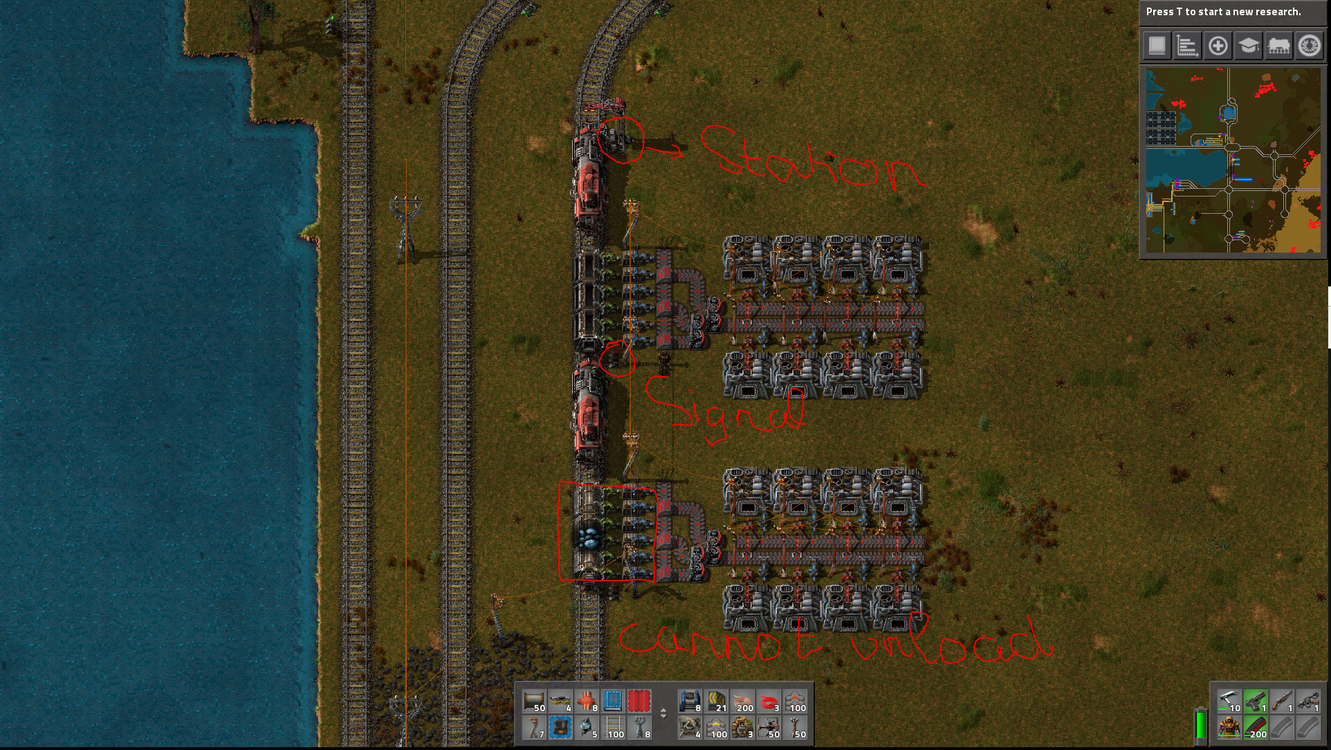 I would like both trains to be unloadable. One is stopped at a station, the other at a signal.