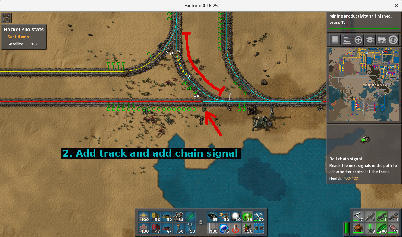 Snapshot step 2: track and new chain signal added