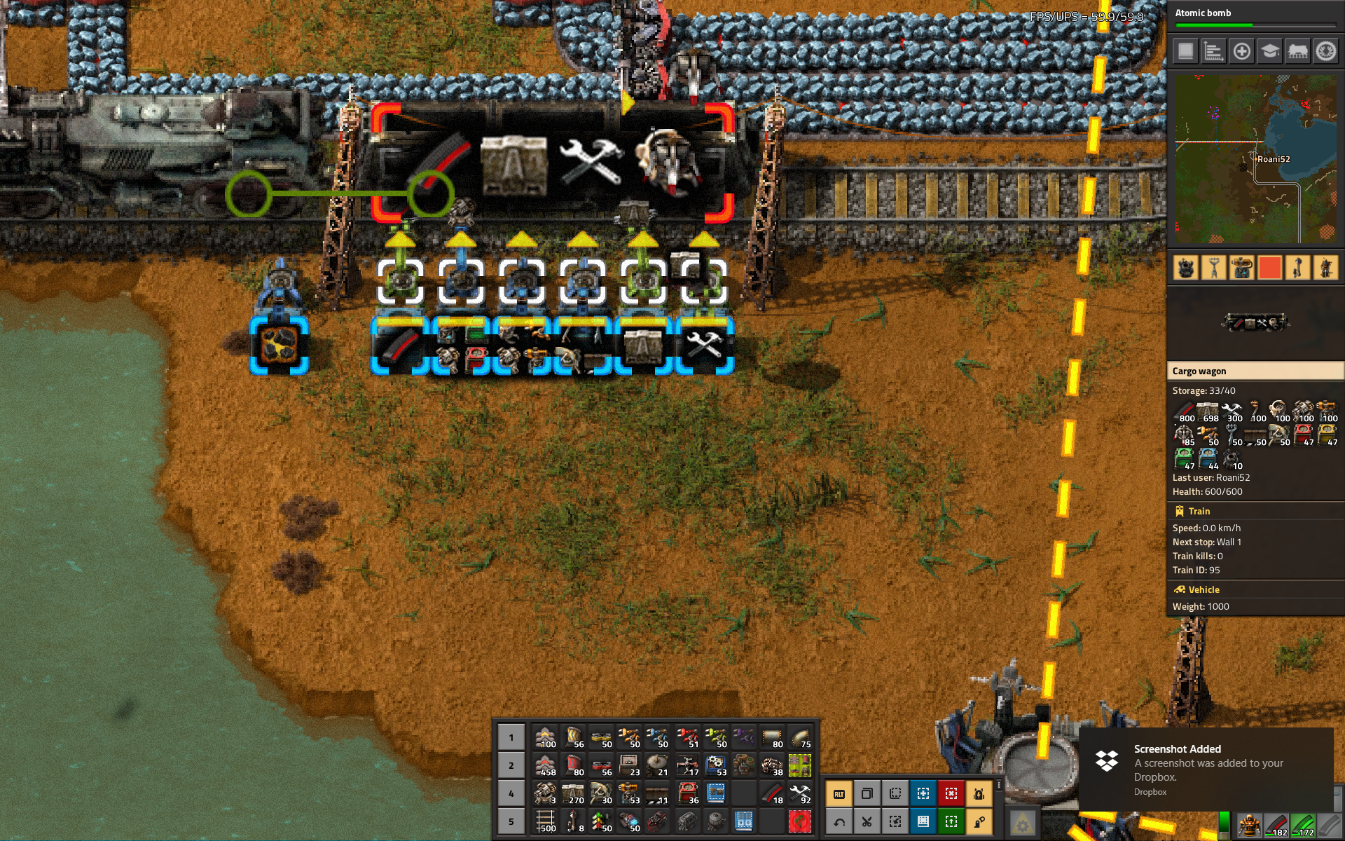 Train being supplied simultaneously at the base station. Train should hold 700 walls, but shows here an inventory of 698.